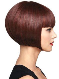 Popular Auburn Straight Short Hair Chin Length Bob Wigs,JFW0009