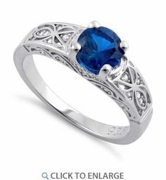 Sterling Silver Blue Sapphire Round Cut Engagement CZ Ring