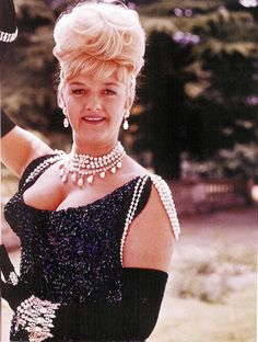 Joan Sims in 'Carry On Cowboy' in a black sequin dress by Cynthia Tingey British Actresses, British Actors, Actors & Actresses, British Sitcoms, Female Actresses, Tv Actors, English Comedy, British Comedy, Comedy Movies