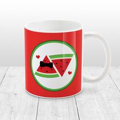 ((Please share!!)) Your home (and you) needs something new. How about my: Mr and Mrs Watermelon Mug - cute illustration in red and green, cute watermelon mug - 11oz or 15oz - Made to Order at Etsy? | #married #couple #watermelon #red #mug #cute #MrMrsWatermelon #WatermelonMug #15oz #InLove #MrAndMrs #11oz