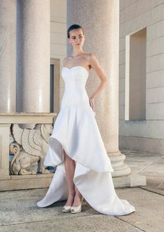 Shoulder-Free Mullet Wedding Dress with gradual skirt of silk by Giuseppe Papini