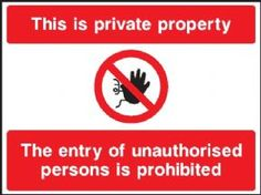 This is Private Property security sign
