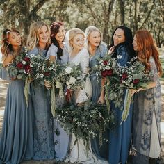 modest wedding dress with long sleeves from alta moda. -- (modest bridal gown) modest wedding dress with long sleeves from alta moda. Blue Bridesmaids, Bridesmaid Flowers, Winter Wedding Bridesmaids, Winter Bridesmaid Dresses, Mismatched Bridesmaid Dresses, Wedding Summer, Summer Weddings, Blue Winter Weddings, Autumn Wedding