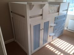 4 Drawer cabin bed in white and sky blue for a young boys room. Designed by the . 4 Drawer cabin bed in white and sky blue for a young boys room. Designed by the parents and the boy Childrens Cabin Beds, Boy Room, Kids Room, Hanging Rail, Your Perfect, Young Boys, Cupboard, Storage Spaces, Solid Wood