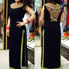 Georgette Black Embellished Stitched Straight Kurti - FG1591