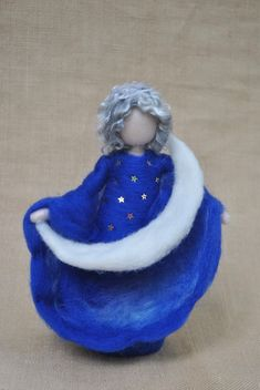 Moon Fairy Waldorf inspired standing doll : Moon by MagicWool