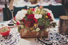 Succulent flower centerpiece in wooden box by the Modern Bouquet ~#repinned by Lori Cole for California Bridal Eventz