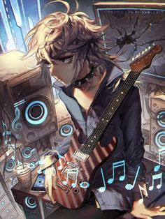 Don't stop the music by kawacy, Digital Painting, Anime, Character Design, Inspirational Art