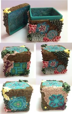 """Oceans Windows"" polymer clay trinket box with lid"