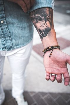 Denim Shirt Men's Outfit Idea With Accessories Wolf Tattoos For Women, Band Tattoos For Men, Cool Tattoos For Guys, Top Tattoos, Sleeve Tattoos, Tatoos, Forearm Tattoo Men, Arm Band Tattoo, Bullet Tattoo