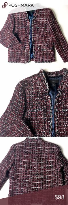 J. Crew Tweed Jacket Ready for Spring? 🌷🌸🌺  Details: Stunning J. Crew Tweed Blazer in a red, black, silver; white blend of material. Near-perfect condition in a size 6.  Kate Harrington Boutique does not trade or negotiate price in the comment section. However, for most items we may consider reasonable offers.   Happy Poshing! J. Crew Jackets & Coats