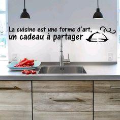 "Stickers Citation ""Cuisine - Art""  Dispo sur: https://www.artandstick.be/custom.php5?ref=313137322c3330"