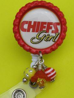 Chiefs Girl Kansas City Chiefs ID Badge Reel Bottle Cap Jewelry