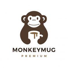 Logo Branding, Logos, Branding Design, Logo Design, Cute Monkey, Monkey Monkey, Monkey Coffee, 100 Logo, Drinks Logo