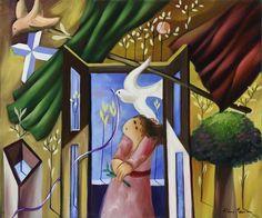 """Lote 6166 - ALBINO MOURA (n.1940) - Original - Pintura a óleo sobre tela, assinada, verso assinado e com indicação do título """"A Menina das Flores"""", com 50x60 cm (grade alta, sem necessidade de moldura). Obra deste autor foi vendida por € 4.500 numa leiloeira em Lisboa. 1940, Albino, Painting, Oil Painting On Canvas, The Originals, Lisbon, Moldings, Toddler Girls, Verses"""