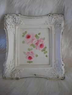 framed rose painting shabby cottage chic hand painted hp vintage french country #SHABBYCHIC