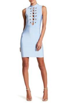 Mock Neck Lace-Up Bandage Dress