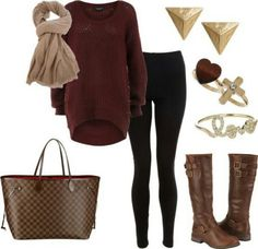 Dark red sweater, leggings or jeggings, boots. Adorable for fall or winter