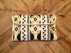 Modern Black White Gold Tribal Print and Polka Dot Diaper Clutch // Changing Pad // Nappy Holder // Cloth Diaper Purse // Diaper Bag