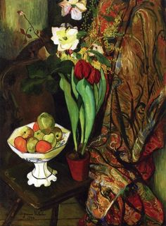 Suzanne Valadon: Still Life with Tulips and Fruit Bowl (1924)