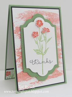 handmade thank you card using Wild About Flowers ... coral, green and white ... luv the label panel with pierce border ... Stampin' Up!