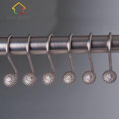 Aimjerry 12PSC/ Set Elegant Diamond Iron Polished Shower Curtain Ring Hooks