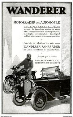 Werbung - Original-Werbung/ Anzeige 1925 - WANDERER AUTOMOBIL / MOTORRAD / FAHRRAD -SIEGMAR-SCHÖNAU B. CHEMNITZ - ca. 140 x 220 mm