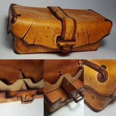 handmade leather craft magic the gathering deck box 4 deck or 2 commander mtg battle aged