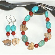 """Susen Foster """"Brown Bear Totem"""" -  A fun, Southwest Inspired bracelet & earring set featuring Picture Jasper carved Zuni Bears, blue Turquoise ovals, and red sponge coral beads."""