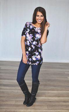 Dottie Couture Boutique - Black Floral Tunic, $28.00 (http://www.dottiecouture.com/black-floral-tunic/)