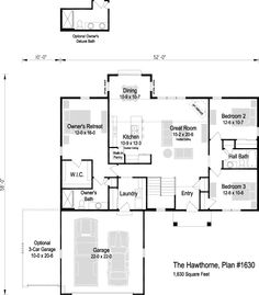The Hawthorne, Plan 1630 Thing 1, Square Feet, Great Rooms, Future House, House Plans, New Homes, Floor Plans, Bath, Flooring