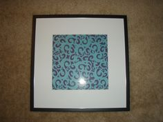 Bathroom art. Frame and 2 pieces of scrapbook paper :)