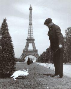 Champ de Mars, Paris - Taking the rabbit for a walk, as you do!