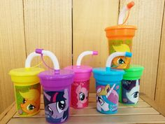 6 Lightweight Favor Cups, My Little Pony Birthday Party Favor Cups Pinkie Pie, Apple Jack, Rarity, Twilight Sparkle, Princess Celestia