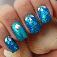 "Instagram media by xnailsbymiri - Mermaid nails This design is made with the colors: Catrice - Never Green Before Catrice - Team Blue (stamped) Kleancolor - Sparkle Emerald And stamping plate ""Sailor collection - 05"" by Moyou London"