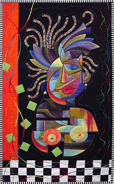 """""""A Picasso Frame of Mind """" quilt. Or maybe """"Another bad hair day!"""""""