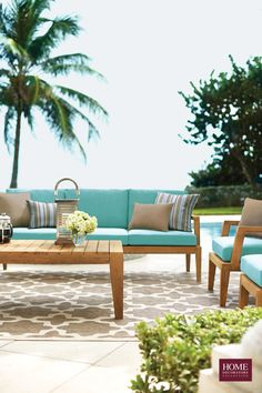 Tropical paradise dreaming. Create this look in your own backyard with the Bermuda Collection of outdoor furniture. Pretty blue cushions and FSC-certified eucalyptus wood give that island life feel for all day lounging. All materials are weather-resistant for lasting appeal. Enjoy being outside with a patio or deck that's welcoming, stylish and made for sunny warm weather. Available at HomeDecorators.com.