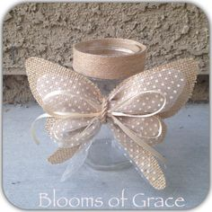 Set of 3 Rustic jars centerpiece burlap. by BloomsofGraceDesigns