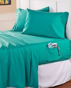 Turquoise Sheets with Side Pocket Organizer Glasses Remote Book Storage Bedding #Unbranded #Traditional