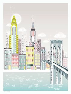 New York Brooklyn bridge Art Print. via Etsy. - Travel New York - Ideas of Travel New York City Skyline Art, Cityscape Art, City Art, Nyc Skyline, New York Poster, Nex York, Skyline Von New York, Music Poster, New York City