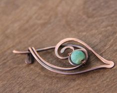 """Shawl pin, scarf pin, brooch, Copper and matte etched agate wire wrap shawl pin """"First sprout"""""""