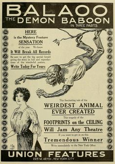 "1913 ""Balaoo: The Demon Baboon' in 3 parts Horror Movie Posters, Horror Films, Vintage Newspaper, Baboon, Vintage Horror, Silent Film, Bulgaria, Mystery, How To Get"