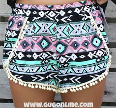 Sippin on Fire Aztec Shorts with Pom Pom Trim in Mint and Coral $24.95 www.gugonline.com