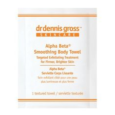 Dr. Dennis Gross Skincare Smoothing Body Towel, Alpha Beta, 8 Count by Dr. Dennis Gross Skincare?. $25.94. Treats chest and back breakouts with salicylic and azelaic amino acid. Exfoliates, firms, and tones with glycolic and mandelic acid. Helps heal dry and bumpy keratosis pilaris (a.k.a. ?chicken skin?) with AHAs and witch hazel. This retexturizing body towel is formulated with multiple actives for a targeted exfoliating treatment that will leave skin firmer and brighte...
