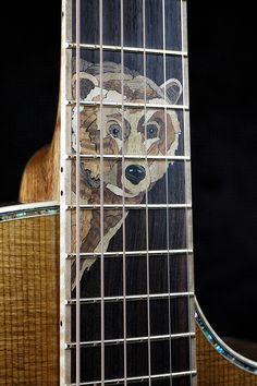 Bear inlay by master luthier Chris Alvarado of Driftwood Guitars Guitar Building, Ukulele, Driftwood, Bear, Guitars, Bears, Drift Wood