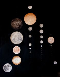All the moons of our solar system, to scale, in order of closeness to the  sun. An archivalgicléeprint of awatercolor on linen painting. We  partnered with a local fine arts printer to create two different sizes  ofprints on Hahnemühle watercolor paper - a German paper that preserves  the texture and depthof the original painting. Each print is signed and  numbered.