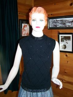 Vintage 50s Black Sleeveless Sweater with by OhVintageThreads, $49.99