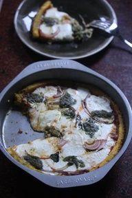 gluten free pizza -- the dough is polenta.