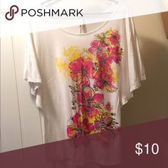 White batwing arm shirt with flower design Cute, flowy but flattering white shirt with pink and yellow flower design on front and short bat wings Tops Blouses