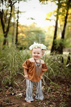 This wide shoulder crop top is perfect for your little boho babe to show off her darling diva side!